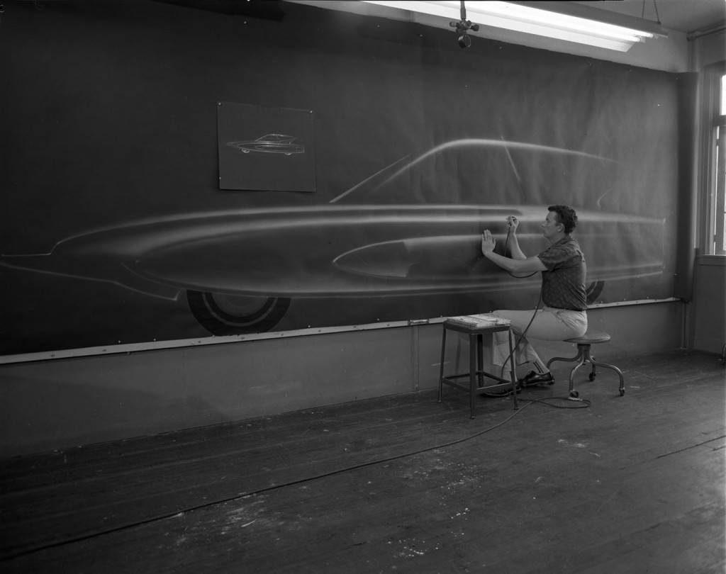 GM Turbine Project.  Leo Pruneau (PROD 1961) is working on airbrushing a full scale rendering of a car. 1960 (2004.23.3225) Photography by Geoffrey Fulton.