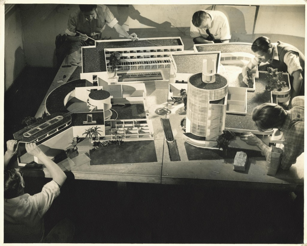Students working on an architectural model of the class project taught by Kem Weber to design a new campus for Art Center, circa 1937. (2003.1.21). Photography by Irene Vermeers. Gift of Irene Vermeers (PHOT 1937). Art Center College of Design.