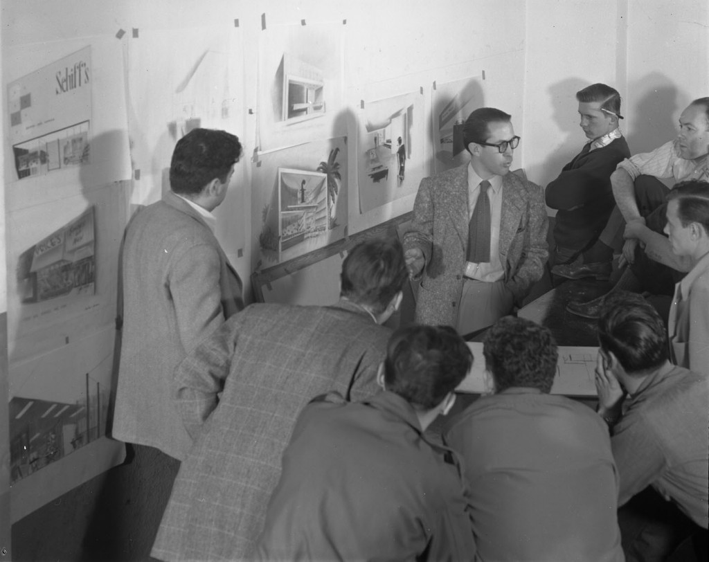 Sterling Leach instructing a group of students, circa 1949. (2004.20.605). Art Center College of Design.