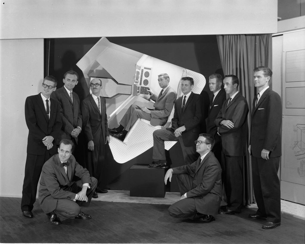 General Electric Space Capsule project, 1960.  George Beck sitting in the capsule. (2004.22.2215.V). Photography by Geoffrey Fulton. Art Center College of Design.