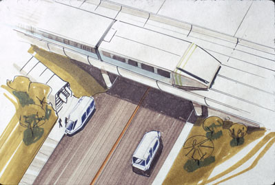 GM Irvine Project, 1971. Student drawing of The Wedge on a ramp with the Irvibus below on a road dropping off passengers. Art Center College of Design.