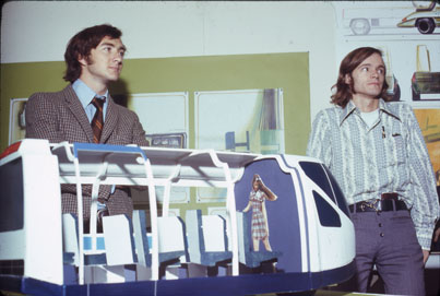 GM Irvine Project, 1971.  Finished model of the Irvibus with Joe Warren (PROD 1973) and Leif Chapman (TRAN 1972) standing next to it. Art Center College of Design.