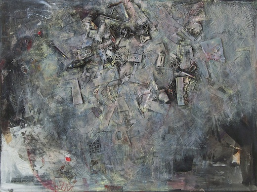"""Obbligato I"" (2012) by Julienne Johnson. Oil with mixed media, including pigment transfers and collage on canvas, 30"" x 40"". Courtesy of the artist."