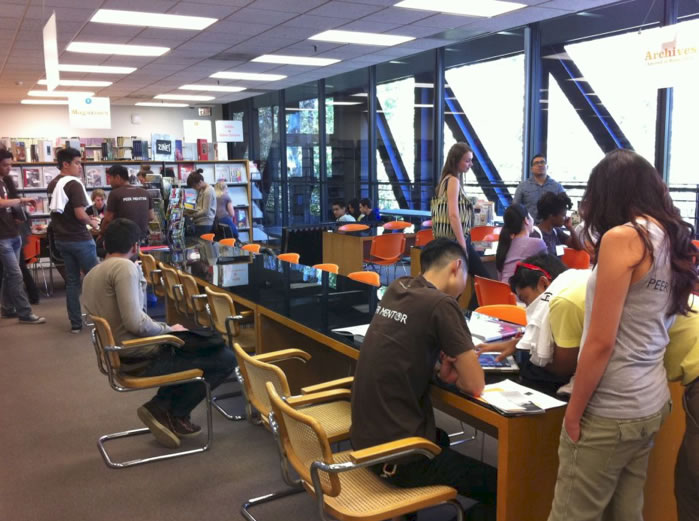 Student orientation session at Art Center College of Design Library.