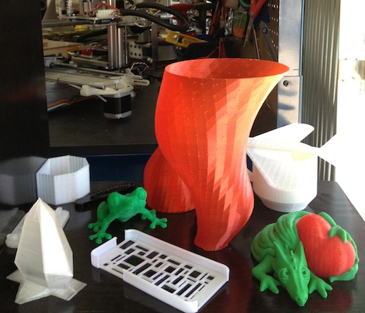 A few 3D objects printed using a Bukobot on view at Deezmaker in Pasadena.