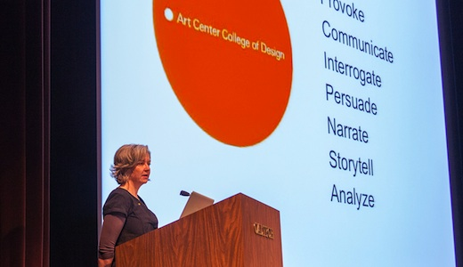 Interaction Design chair Maggie Hendrie speaking at From Data to Discovery. Photo: Chuck Spangler