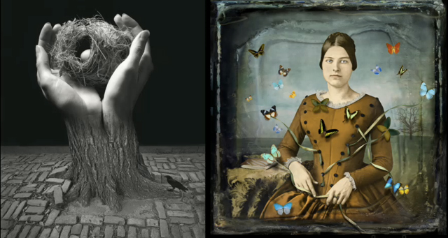 "Jerry Uelsmann's  ""Journey Into Night"" and Maggie Taylor's ""The Collector,"" side by side. ""Jerry & Maggie: This is Not Photography,"" new from lynda.com, shows the artists and their complementary yet contrasting work and processes."