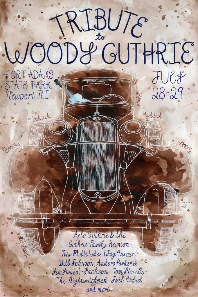 Tribute to Woody Guthrie by Taleen Keldjian is a participating artist in the Community art exhibit at Jones Coffee Roasters.