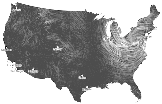 "2012's Hurricane Sandy as it appeared on Fernanda Viégas' and Martin Wattenberg' ""Wind Map."""