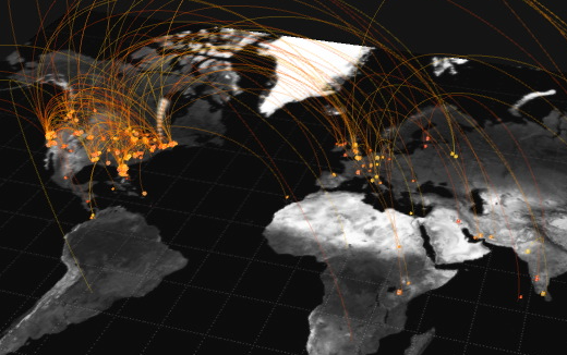 "A still from artist Jer Thorp's ""Just Landed"" (2009), a work that visualizes tweets from air travellers."