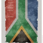 """The rough border of this poster symbolizes the struggles South Africa has undergone."" -- Faculty member Leonard Konopelski on Rosie Geozalian's poster"