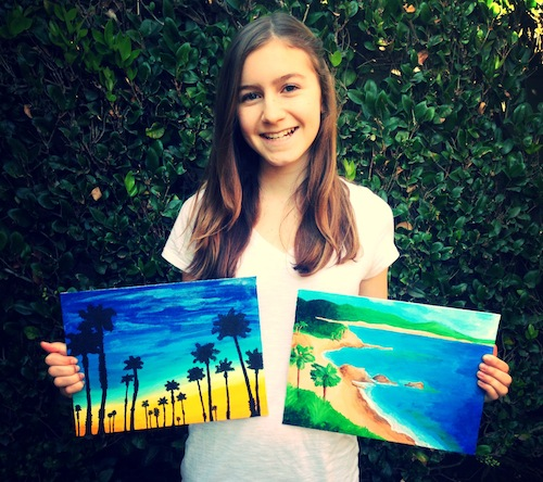 Hannah Megery creates a painting for each bat mitzvah scholarship donor