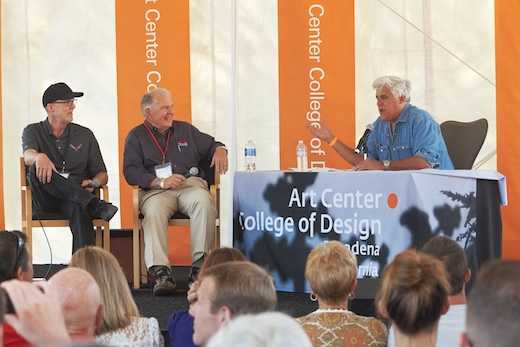 Jay Leno (right) interviews Tom Peters (left) and Peter Brock (center) at Car Classic: Inspired by Nature.