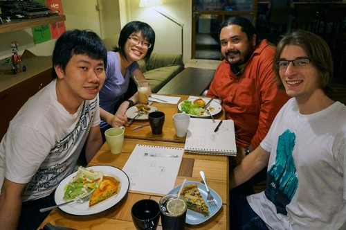 Sharing drawing techniques and opinions on design over dinner in Taiwan are (L to R) Jr Feng Kwan, Ying-Hsiu Chen, Raul-David Poblano and Russell Singer.