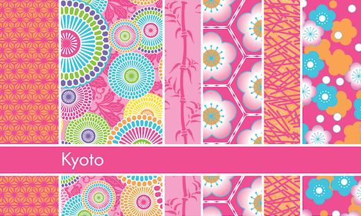 Patterns from Debra Valencia's Kyoto collection.