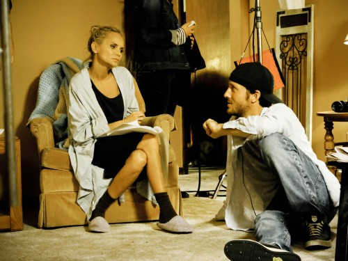 "Kristin Chenoweth and Sean Nalaboff on the set of ""Hard Sell"""