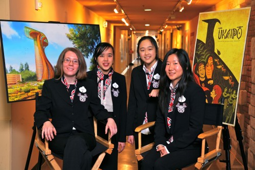 "Art Center's winning team in the 2013 ImagiNations Competition with their project ""Disney's Ukaipo Resort at Auckland, New Zealand."" (L-R): Sophie McNally, Angela Li, Jennifer Cho and Sunmin Inn. (Photo © Disney. Photographer: Gary Krueger)."