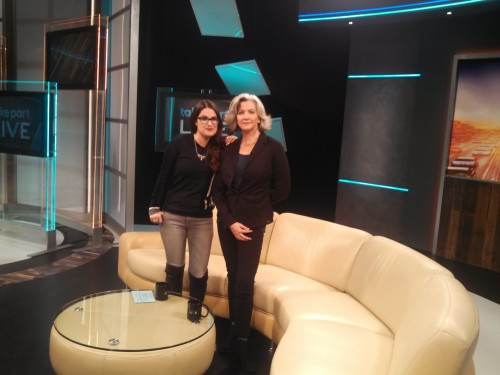 Maggie Hendrie on the set of TakePart Live