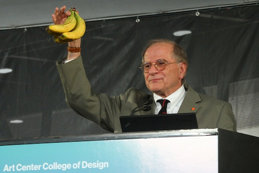Industrial Design alumnus Gordon Bruce (BS 72) goes bananas at Art Center's Spring 2014 graduation