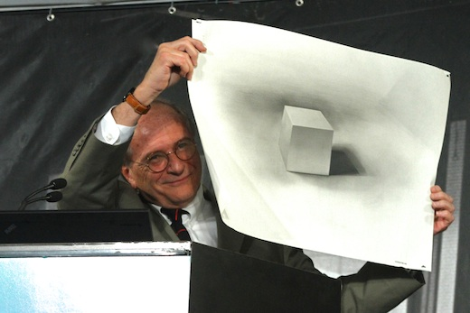 Industrial Design alumnus Gordon Bruce (BS 72) holds up the first drawing he made for Art Center. Photo: John Dlugolecki