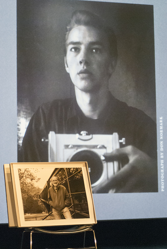 Don Normark self-portrait at 19, with portrait by Gilbert Ortiz taken in 2012 at Art Center