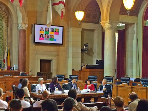 Amy Shimshon-Santo (far left) moderates the #techLA panel at City Hall