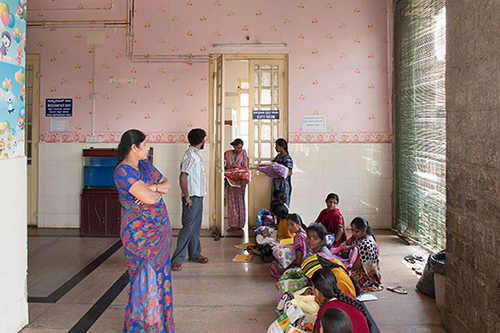 Women wait with their babies, who will receive hearing tests, at Vaani Vilas Hospital, Bangalore. India, 2014. ©Rolex Awards/ Ambroise Tézenas