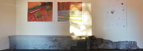 Evelena Ruether's 2013 Untitled (NoPlace context feature 1), xeorox photograph, chickenwire, wheat paste (shown with work by Marten Elder and Lisa Madonna).