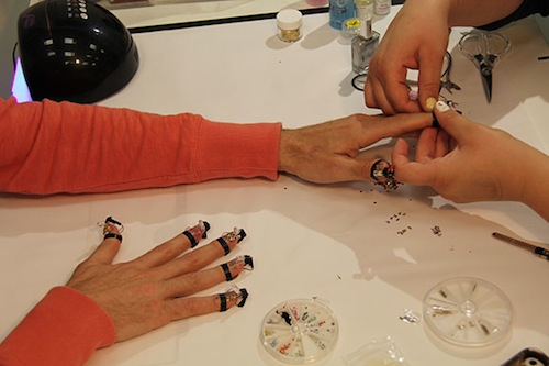 Sensors are affixed to nail gels during this high-tech manicure