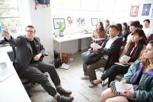 Art Center students visit alum Matthew Manos' verynice design studio in Venice. (Photo by Stella Kalinina)