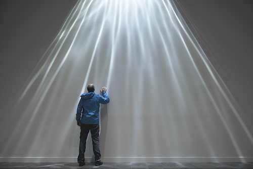Dan Goods andDavid Delgado Refraction, 2014 Theater light, water, custom electronics 19 x 25 ft., dimensions variable. Courtesy of the artists.