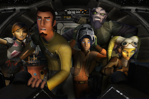 Star Wars Rebels crew from  L to R: Sabine, Chopper, Kanan, Ezra, Zeb, Hera