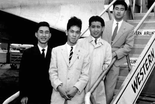 Product Design alumnus Kenji Ekuan (BS 57), second from right, arrives in the United States in the 1950s.