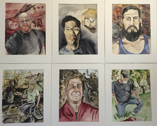 "Can't Sleep, watercolor on paper, by Joshua Moreno: ""This series is a journalistic approach to PTSD in soldiers. These are a few of my brothers who allowed me to illustrate their deepest nightmares."""