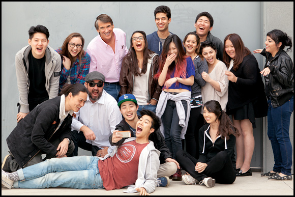 Advertising Chair Goldsmith (top row, third from left), with students in his Crashvertising course.