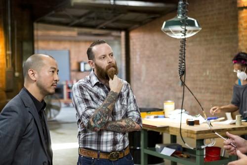 Nolen Niu and Brandon Gore on Framework set. Photo by Rob Kalmbach.