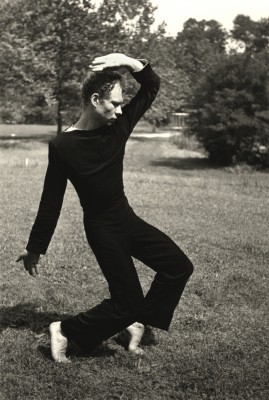 Photo: Hazel Larsen Archer, Merce Cunningham Dancing, c. 1952-53, gelatin silver print, 8 ¾ x 5 7/8 inches. Estate of Hazel Larsen Archer and Black Mountain College Museum and Arts Center.