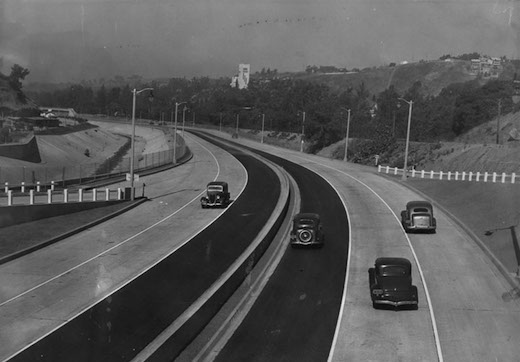 First cars to travel The Arroyo Seco Parkway in 1940. Photo (detail): Los Angeles Public Library