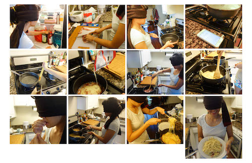Students documented the experience of cooking without sight