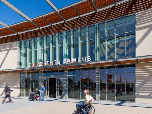 Exterior of the Ed Roberts Campus in Berkeley, CA, designed by Leddy Maytum Stacy Architects. Photo by Tim Griffith, courtesy of the Ed Roberts Campus