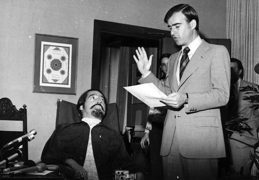 Ed Roberts being sworn in by California Governor Jerry Brown as the State Director of Rehabilitation in 1975. Photo courtesy of the Metropolitan Transportation Committee