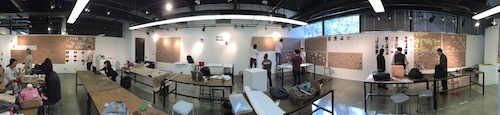 Panoramic shot of students in the Exploring the Quantified Self class