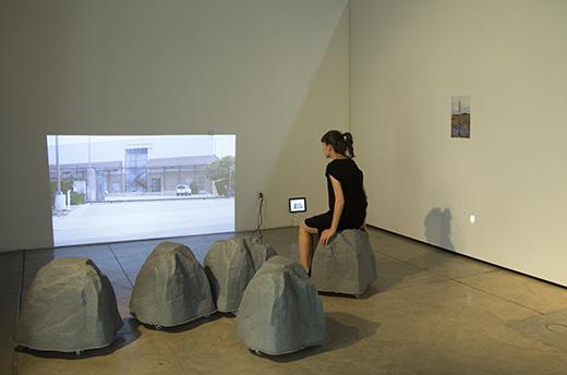 Asli Serbest sitting inside the Natural Wi-Fi installation. Photo: m-a-u-s-e-r