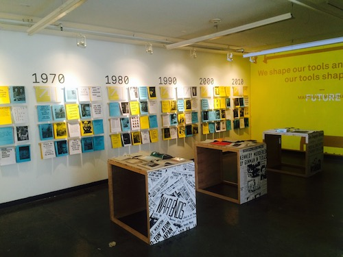 The centerpiece of the student-produced show was an interactive  typographical timeline enabling viewers to create a customizable program. Photo by Nik Hafermaas