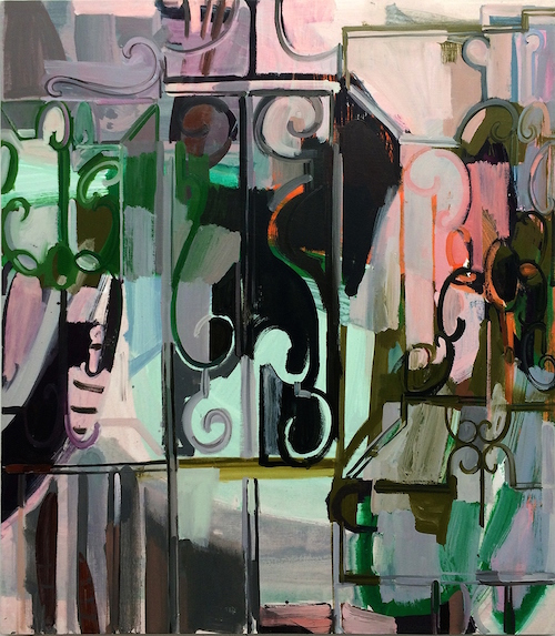 "Sarah Awad. ""Untitled (Gate Painting),"" 2015. At the Diane Rosenstein gallery."