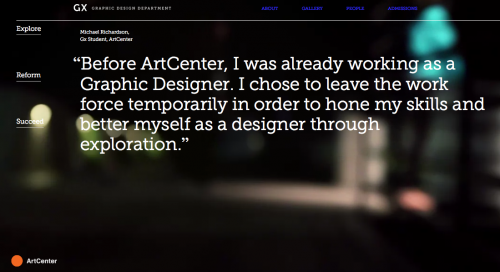Inspiring quotes inform the user experience on Graphic Design's new homepage.