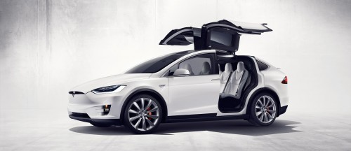 Model X seems ideal for a road trip from Pasadena to Mammoth for skiing with ample seating for seven adults and all of their gear. Photo courtesy of Tesla.