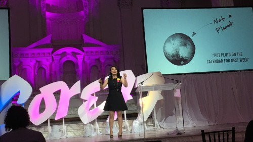 Alumna Jessie Kawata speaks at the Core77 conference.
