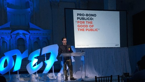 Alumnus Matthew Manos speaks at the Core77 conference.