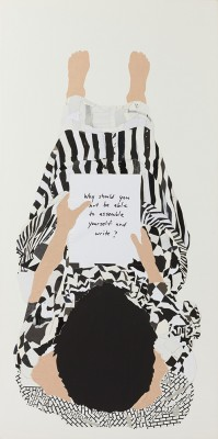 Frances Stark, Why should you not be able to assemble yourself and write?, 2008. Rice paper, paper, and ink on gessoed canvas panel. 55 x 34 in. (139.7 x 86.4 cm). Hammer Museum, Los Angeles. Purchase. Photo by Elon Schoenholz.